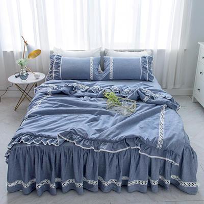 菊上家纺    女神色织水洗全棉四件套床裙款 手袋 牛仔蓝