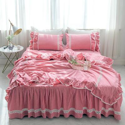 菊上家纺    女神色织水洗全棉四件套床裙款 手袋 歌舞红