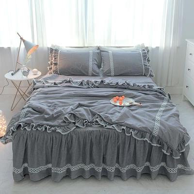 菊上家纺    女神色织水洗全棉四件套床裙款 1.2m床三件套 亚麻灰