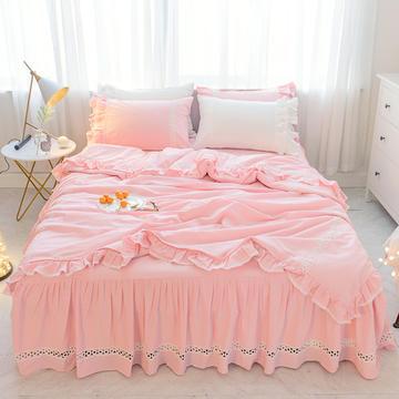 菊上家纺    女神色织水洗全棉四件套床裙款