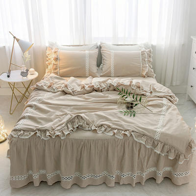 菊上家纺    女神色织水洗全棉四件套床裙款 手袋 卡其色