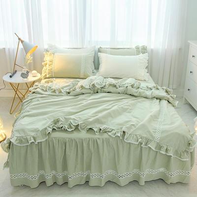 菊上家纺    女神色织水洗全棉四件套床裙款 手袋 豆绿色