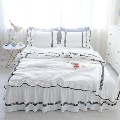 菊上家纺    女神色织水洗全棉四件套床裙款 1.2m床三件套 公主白