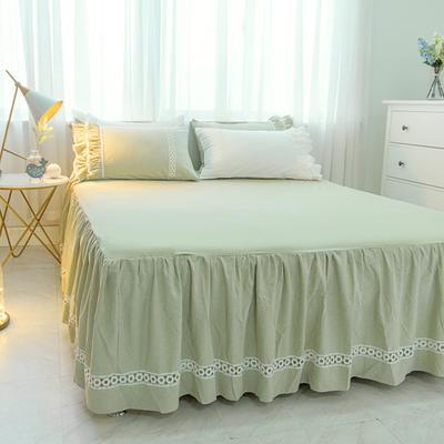 菊上家纺    女神色织水洗全棉单件 1.2m床裙 豆绿色