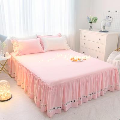 菊上家纺    女神色织水洗全棉单件 1.2m床裙 公主粉