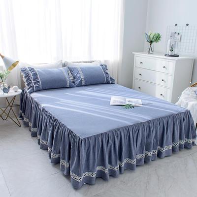 菊上家纺    女神色织水洗全棉单件 1.2m床裙 牛仔蓝