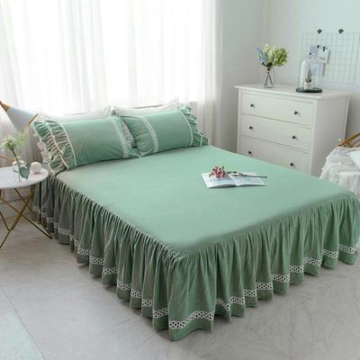 菊上家纺    女神色织水洗全棉单件 1.2m床裙 青草绿