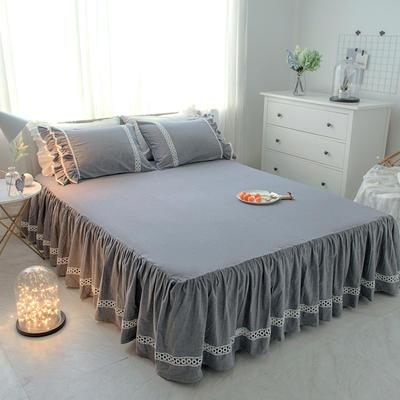 菊上家纺    女神色织水洗全棉单件 1.2m床裙 亚麻灰