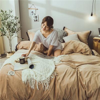 2018-秋冬保暖绒-北欧纯色风-系列 1.2m(4英尺)床 咖啡色