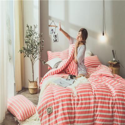 2018-秋冬保暖绒-条格风系列 1.2m(4英尺)床 粉色