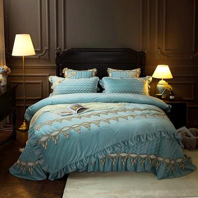 2018新款水晶绒贵妃绒系列四件套 2.0m(6.6英尺)床(被套加大) 湖蓝色