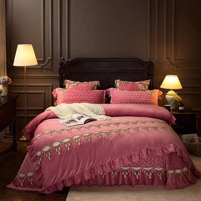 2018新款水晶绒贵妃绒系列四件套 2.0m(6.6英尺)床(被套加大) 玫瑰粉