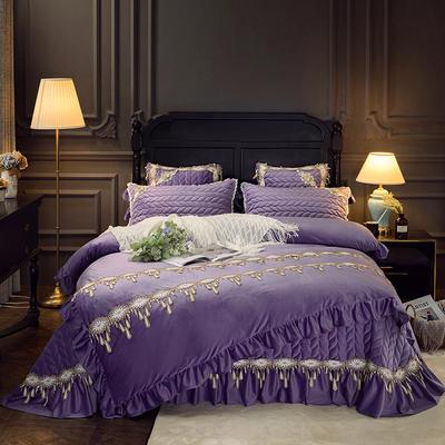 2018新款水晶绒贵妃绒系列四件套 2.0m(6.6英尺)床(被套加大) 浪漫紫
