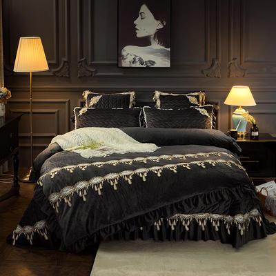 2018新款水晶绒贵妃绒系列四件套 2.0m(6.6英尺)床(被套加大) 深灰色