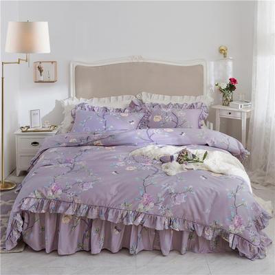 2019新款美式-铂金系列床裙四件套 1.5米四件套 安娜苏紫
