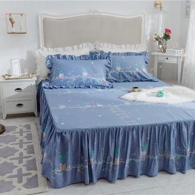 2019新品唯美小清新全棉床裙床罩1.2米1.5米1.8米床裙三件套 120cmx200cm 陌上花开