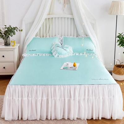 2019-新品床裙款冰丝席 1.5m(5英尺)床 冰水绿