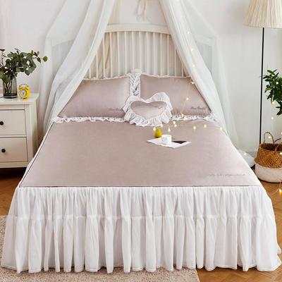 2019-新品床裙款冰丝席 1.5m(5英尺)床 咖啡金