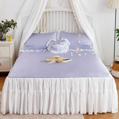 2019-新品床裙款冰丝席 1.5m(5英尺)床 烟灰紫