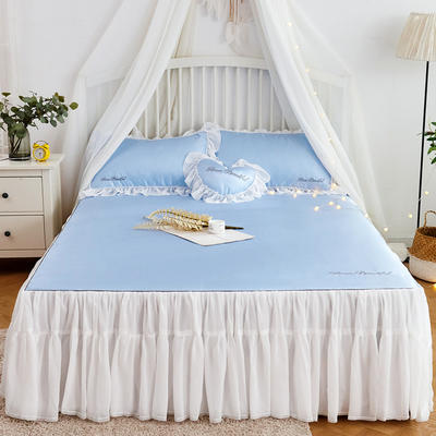 2019-新品床裙款冰丝席 1.5m(5英尺)床 星空蓝