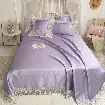 2019新款高档冰丝凉席三件套 方枕:50*50/个 烟灰紫