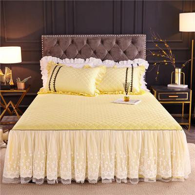 2019新款公主风维密加棉床裙 单床裙:120cmx200cm 柠檬黄
