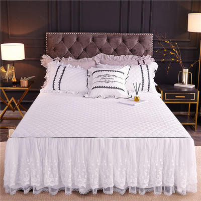 2019新款公主风维密加棉床裙 单床裙:120cmx200cm 珍珠白