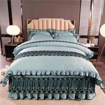 2019新款时尚芭莎加棉四件套 1.2m床裙款三件套 瓷绿