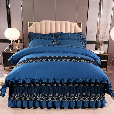 2019新款时尚芭莎加棉四件套 1.2m床裙款三件套 魅蓝