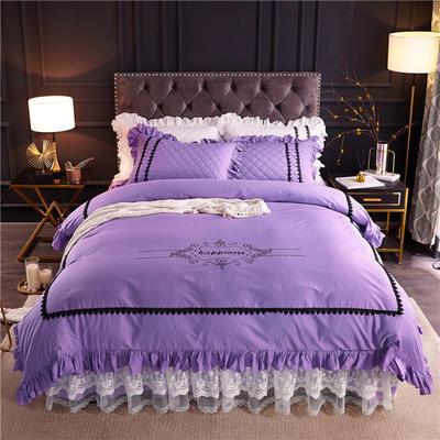 2019新款全棉维密四件套(单层款) 1.2m床裙款三件套 丁香紫