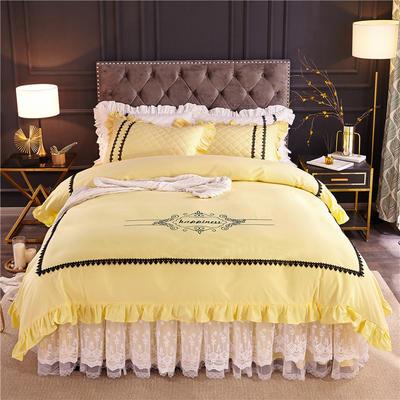 2019新款全棉维密四件套(单层款) 1.2m床裙款三件套 柠檬黄