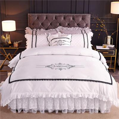 2019新款全棉维密四件套(单层款) 1.2m床裙款三件套 珍珠白