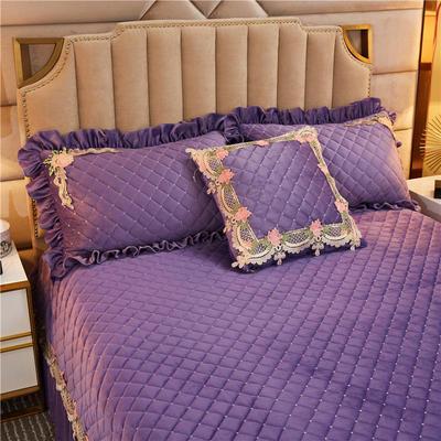 2019新款雅典娜水晶绒加厚夹棉单品枕套 48cmX74cm/对 水晶紫