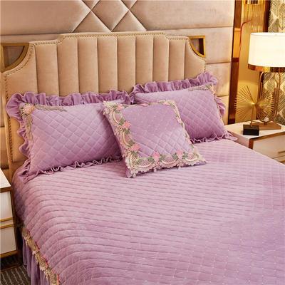 2019新款雅典娜水晶绒加厚夹棉单品枕套 48cmX74cm/对 香芋紫