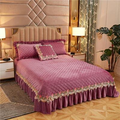 2019新款雅典娜水晶绒加厚夹棉单床盖 单床盖:240cmx250cm 豆沙粉