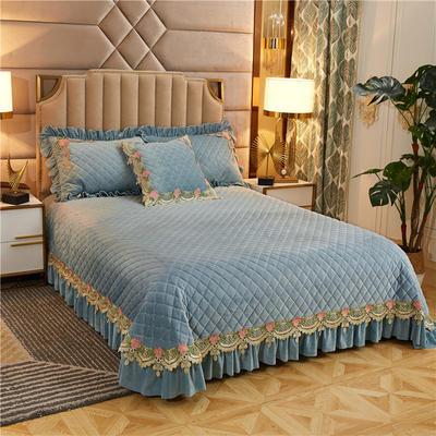 2019新款雅典娜水晶绒加厚夹棉单床盖 单床盖:240cmx250cm 湖蓝