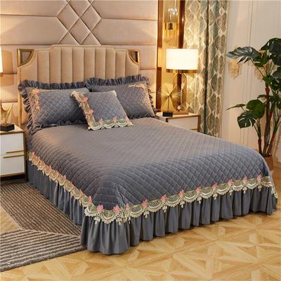 2019新款雅典娜水晶绒加厚夹棉单床盖 单床盖:240cmx250cm 绅灰