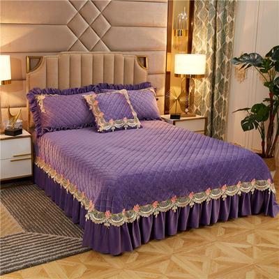 2019新款雅典娜水晶绒加厚夹棉单床盖 单床盖:240cmx250cm 水晶紫