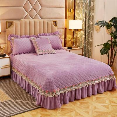 2019新款雅典娜水晶绒加厚夹棉单床盖 单床盖:240cmx250cm 香芋紫