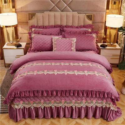 2019新款雅典娜水晶绒加厚夹棉床盖四件套 1.8m床盖款四件套 豆沙粉
