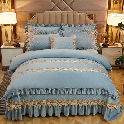 2019新款雅典娜水晶绒加厚夹棉床盖四件套 1.5m床盖款四件套 湖蓝