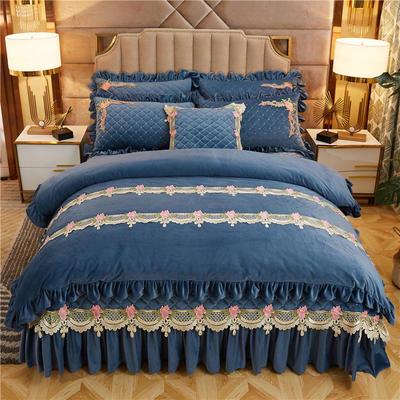 2019新款雅典娜水晶绒加厚夹棉床盖四件套 1.8m床盖款四件套 莫兰