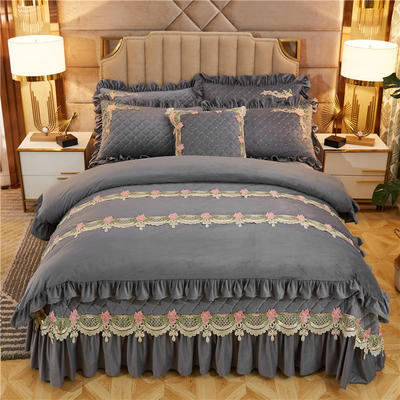 2019新款雅典娜水晶绒加厚夹棉床盖四件套 1.5m床盖款四件套 绅灰