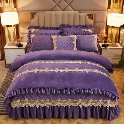 2019新款雅典娜水晶绒加厚夹棉床盖四件套 1.5m床盖款四件套 水晶紫
