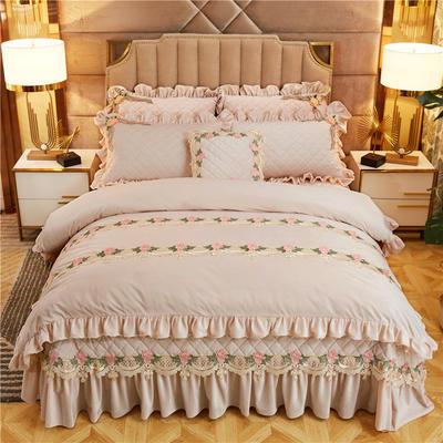 2019新款雅典娜水晶绒加厚夹棉床盖四件套 1.8m床盖款四件套 素米