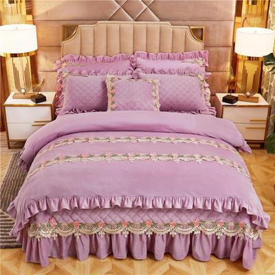 2019新款雅典娜水晶绒加厚夹棉床盖四件套 1.5m床盖款四件套 香芋紫