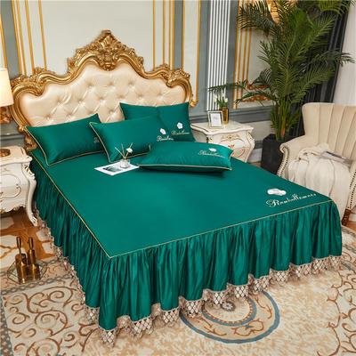 60支长绒棉山茶花系列单层床裙 150cmx200cm 墨绿