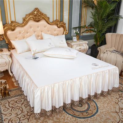 60支长绒棉山茶花系列单层床裙 150cmx200cm 米白