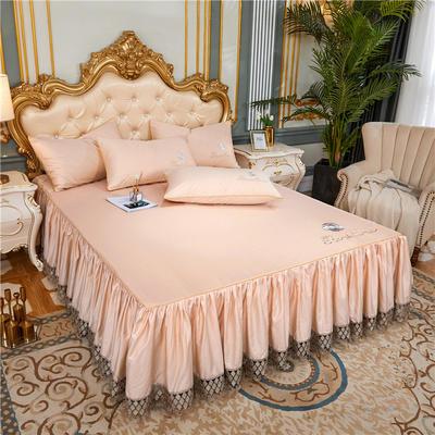 60支长绒棉山茶花系列单层床裙 150cmx200cm 香槟色