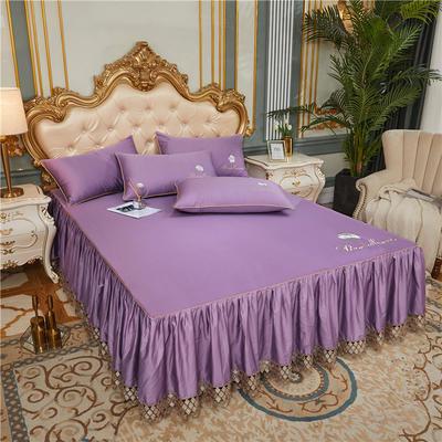 60支长绒棉山茶花系列单层床裙 150cmx200cm 香芋紫